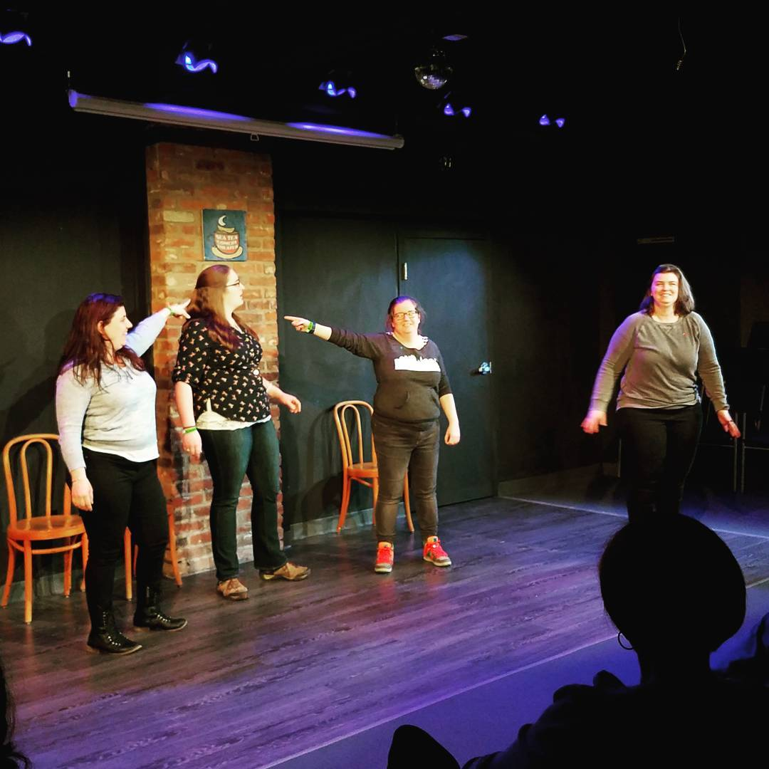 Improv team Romantic Baby on the Sea Tea Comedy Theater stage